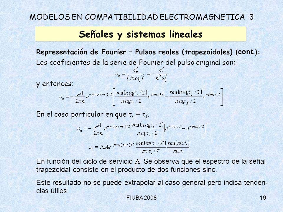 FIUBA 200819 MODELOS EN COMPATIBILIDAD ELECTROMAGNETICA 3 Señales y sistemas lineales Representación de Fourier – Pulsos reales (trapezoidales) (cont.