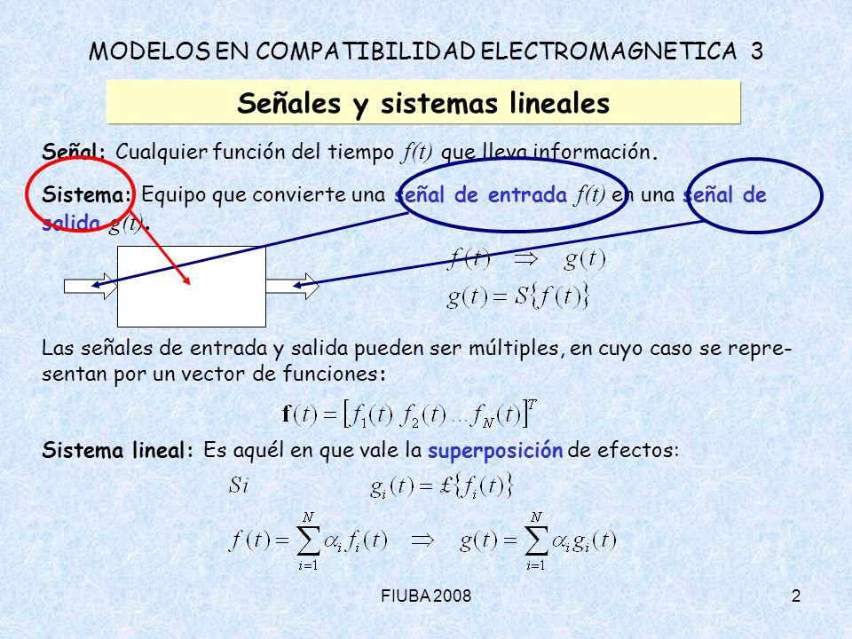 FIUBA 20082 MODELOS EN COMPATIBILIDAD ELECTROMAGNETICA 3 Señales y sistemas lineales Señal: Cualquier función del tiempo f(t) que lleva información. S