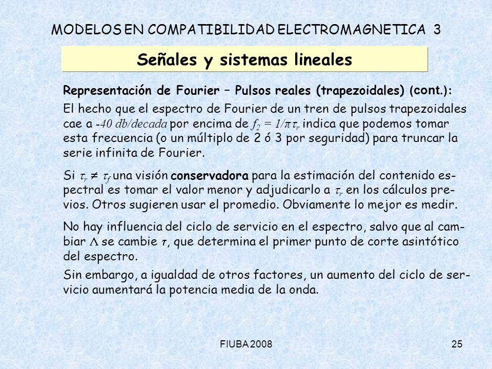 FIUBA 200825 MODELOS EN COMPATIBILIDAD ELECTROMAGNETICA 3 Señales y sistemas lineales Representación de Fourier – Pulsos reales (trapezoidales) (cont.