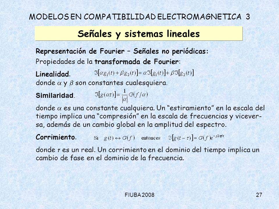 FIUBA 200827 MODELOS EN COMPATIBILIDAD ELECTROMAGNETICA 3 Señales y sistemas lineales Representación de Fourier – Señales no periódicas: Propiedades d