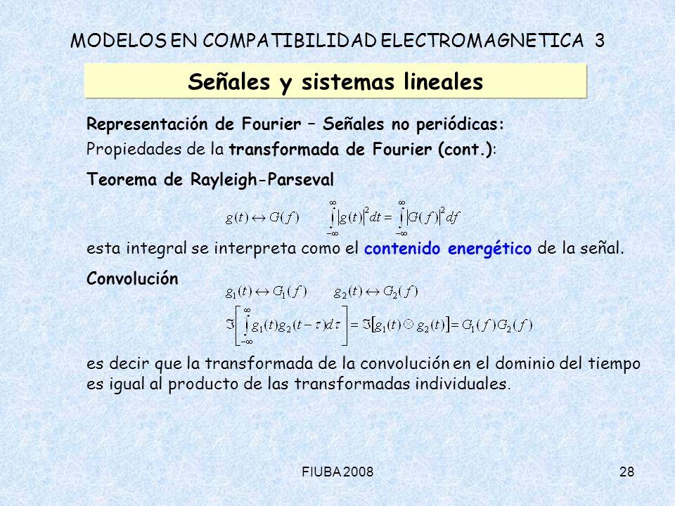 FIUBA 200828 MODELOS EN COMPATIBILIDAD ELECTROMAGNETICA 3 Señales y sistemas lineales Representación de Fourier – Señales no periódicas: Propiedades d