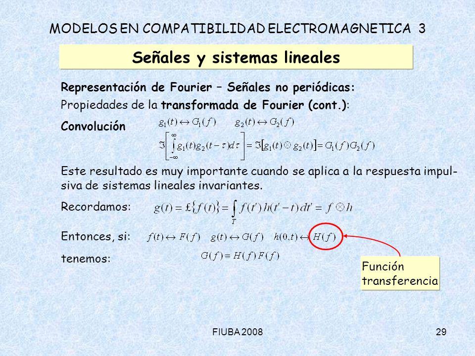 FIUBA 200829 MODELOS EN COMPATIBILIDAD ELECTROMAGNETICA 3 Señales y sistemas lineales Representación de Fourier – Señales no periódicas: Propiedades d
