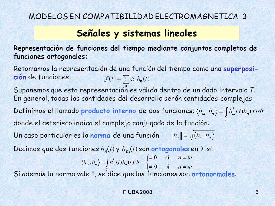 FIUBA 20086 MODELOS EN COMPATIBILIDAD ELECTROMAGNETICA 3 Señales y sistemas lineales Representación de funciones del tiempo mediante conjuntos completos de funciones ortogonales (cont.): Si la representación de la función del tiempo es una superposición de funcio- nes ortogonales: podemos diseñar un método de cálculo de los coeficientes k.