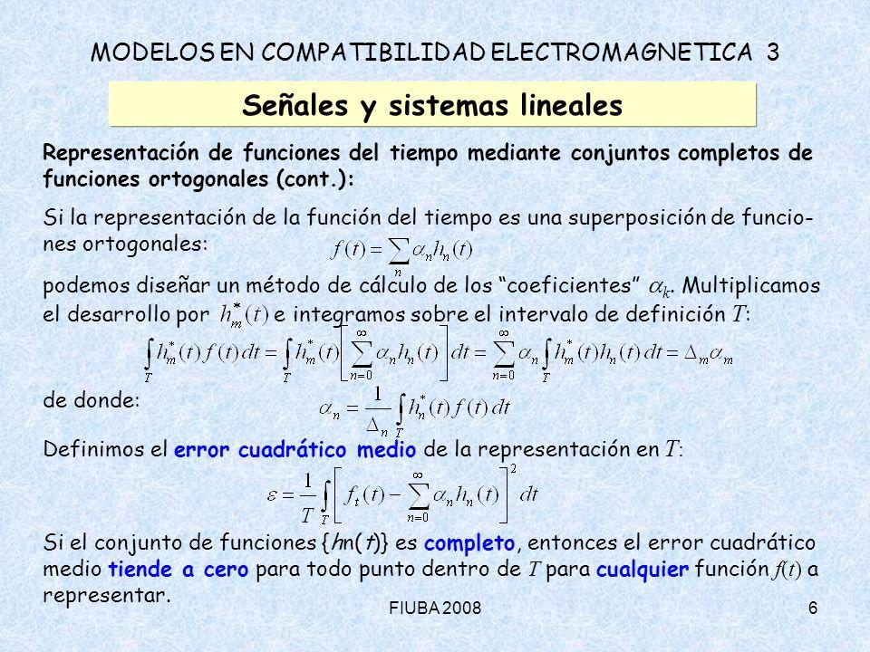 FIUBA 20086 MODELOS EN COMPATIBILIDAD ELECTROMAGNETICA 3 Señales y sistemas lineales Representación de funciones del tiempo mediante conjuntos complet