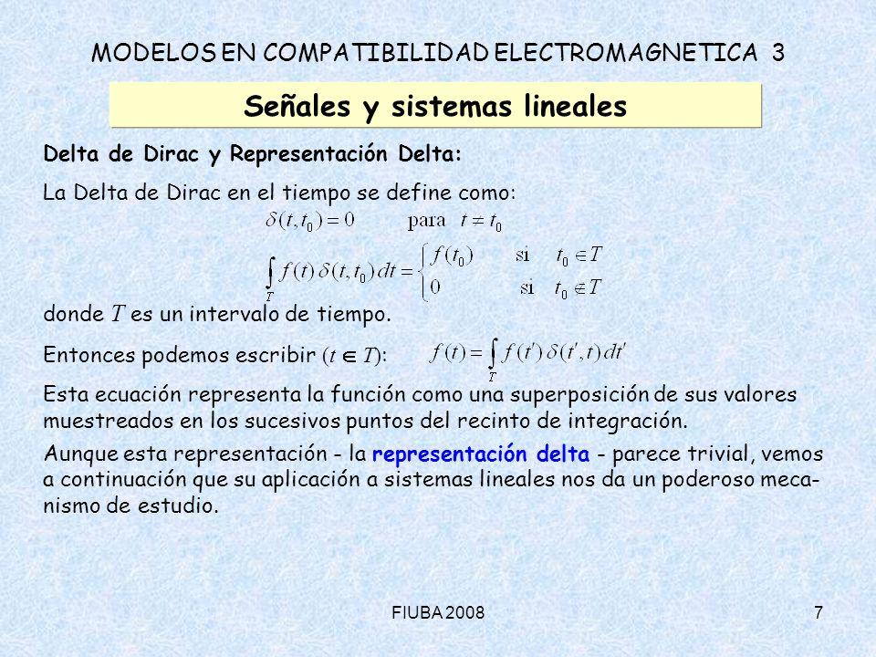 FIUBA 20088 MODELOS EN COMPATIBILIDAD ELECTROMAGNETICA 3 Señales y sistemas lineales Delta de Dirac y Representación Delta (cont.): Sea un sistema lineal: Entonces, usando la representación Delta para f(t) : Obsérvese que el operador £ actúa sobre el tiempo no primado.
