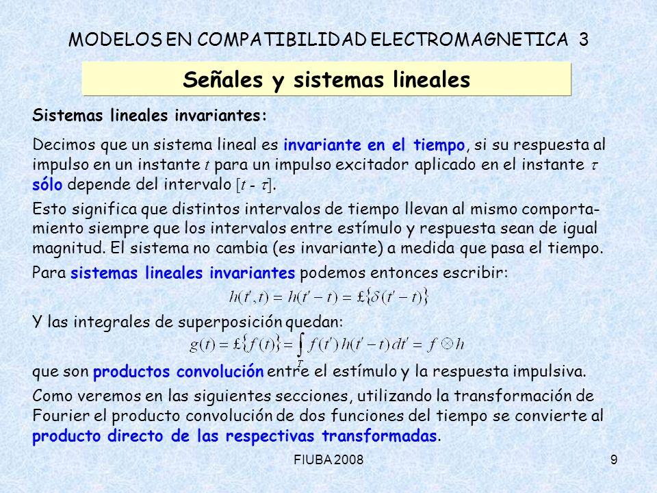 FIUBA 200820 MODELOS EN COMPATIBILIDAD ELECTROMAGNETICA 3 Señales y sistemas lineales Representación de Fourier – Pulsos reales (trapezoidales) (cont.) : Los coeficientes de la serie de Fourier del pulso original ( r = f ) son: donde: = /T (ciclo de servicio) = r /T En este caso, el espectro tiene la gráfica: f = 10 MHz Lineal r = 5 ns dB = 0.1 = 0.5 = 0.9 Las armónicas pares se anulan para = 0.5