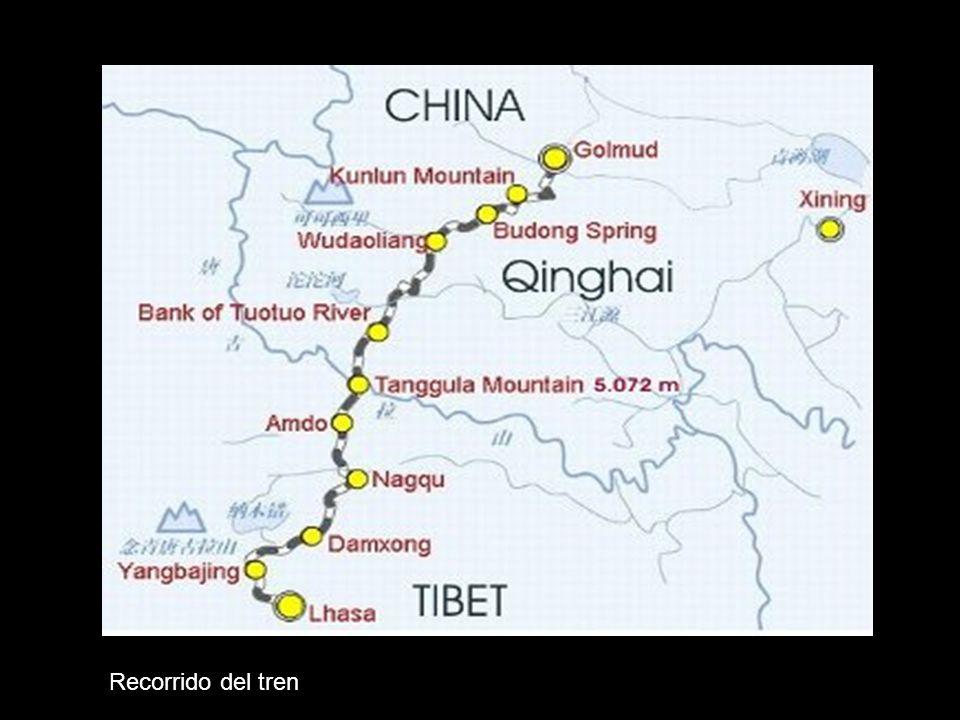 ANEXO- Tren Chino al Tibet En su viaje inaugural el ferrocarrill que une a la la provincia China de Qingha (capital Golmud) y la región autónoma de Tíbet (capital Lhasa), el tren de pasajeros Tíbet 2 cruzó por el paso de la montaña Tanggula, ubicado a 5.072 metros sobre el nivel del mar.