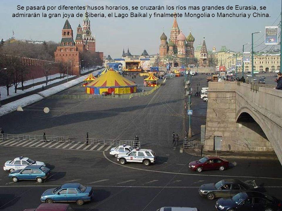 Opciones de Viajes Transiberianos: DESDE MOSCÚ A BEJING VIA MONGOLIA Moscu – Irkutsk – Ulan-Bator – Beijing (Duración: 11 dias / 10 noches) DESDE MOSCÚ A BEJING VIA MANCHURIA Moscú - Irkutsk - Beijing (via Manchuria) (Duración: 10 dias / 9 noches) DESDE MOSCÚ A BEJING VIA VLADIVOSTOK Y KHARBIN Moscú – Irkutsk – Vladivostok – Kharbin – Beijing (Duracion: 16 dias / 15 noches)