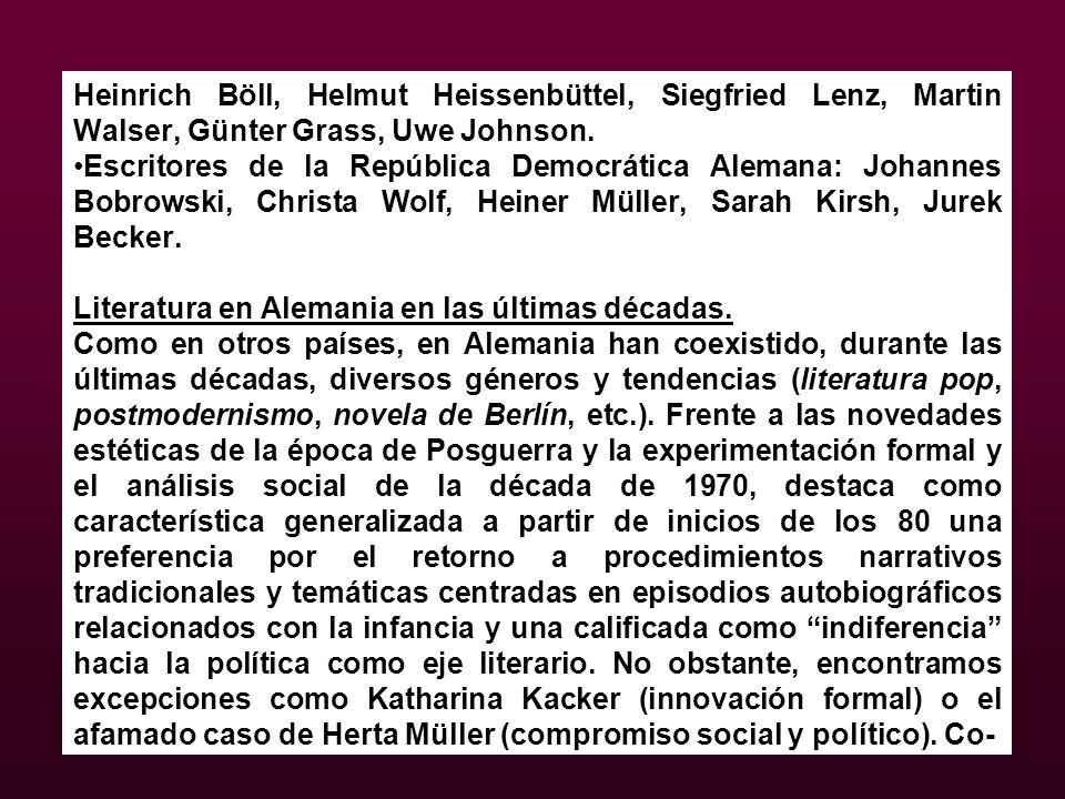 Heinrich Böll, Helmut Heissenbüttel, Siegfried Lenz, Martin Walser, Günter Grass, Uwe Johnson. Escritores de la República Democrática Alemana: Johanne