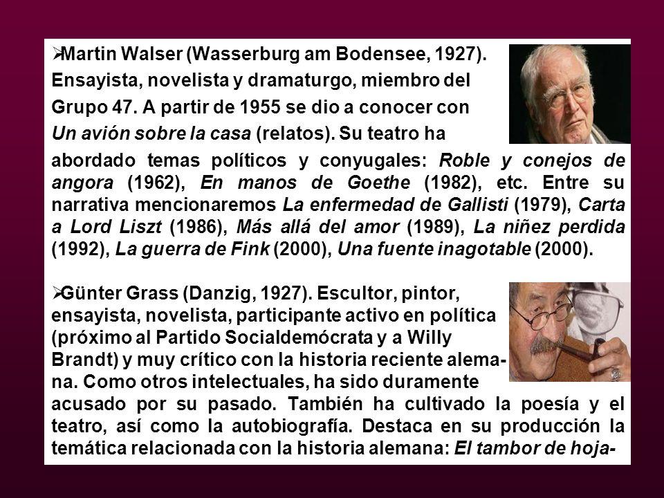 Martin Walser (Wasserburg am Bodensee, 1927). Ensayista, novelista y dramaturgo, miembro del Grupo 47. A partir de 1955 se dio a conocer con Un avión