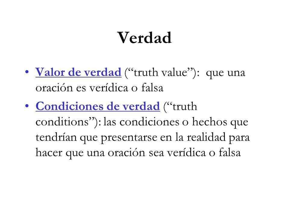 Verdad Valor de verdad (truth value): que una oración es verídica o falsa Condiciones de verdad (truth conditions): las condiciones o hechos que tendrían que presentarse en la realidad para hacer que una oración sea verídica o falsa