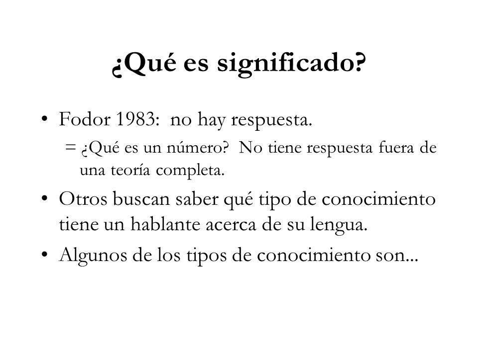 ¿Qué es significado.Fodor 1983: no hay respuesta.