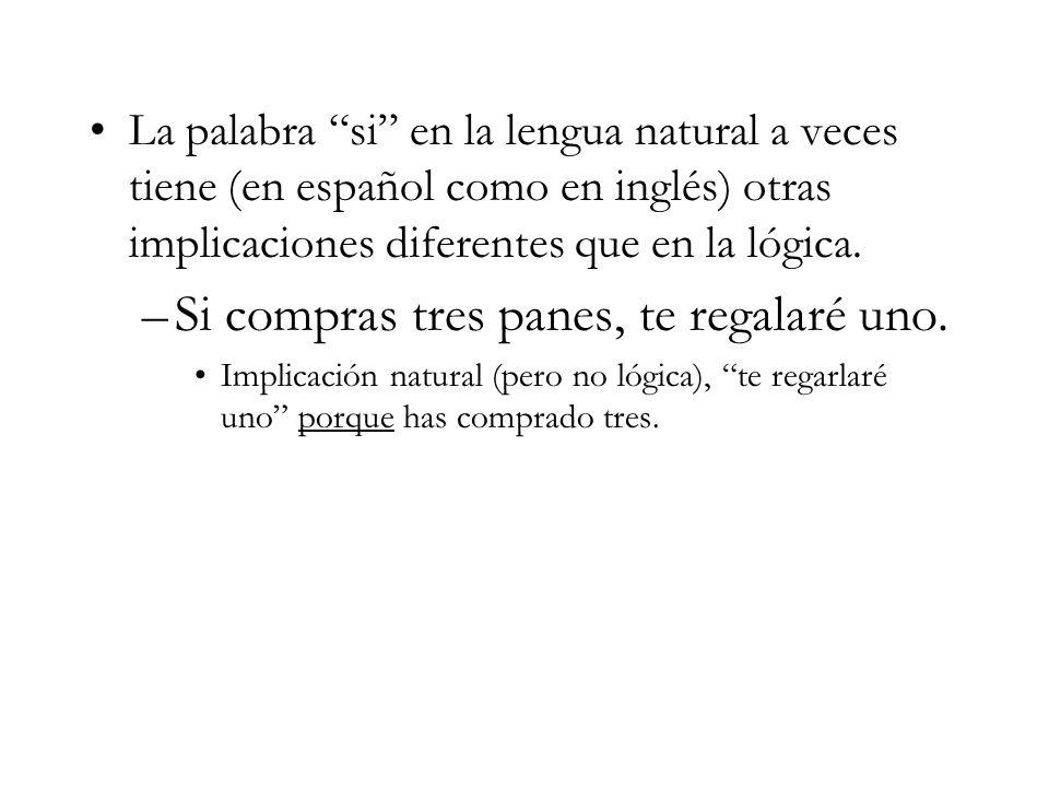 La palabra si en la lengua natural a veces tiene (en español como en inglés) otras implicaciones diferentes que en la lógica.