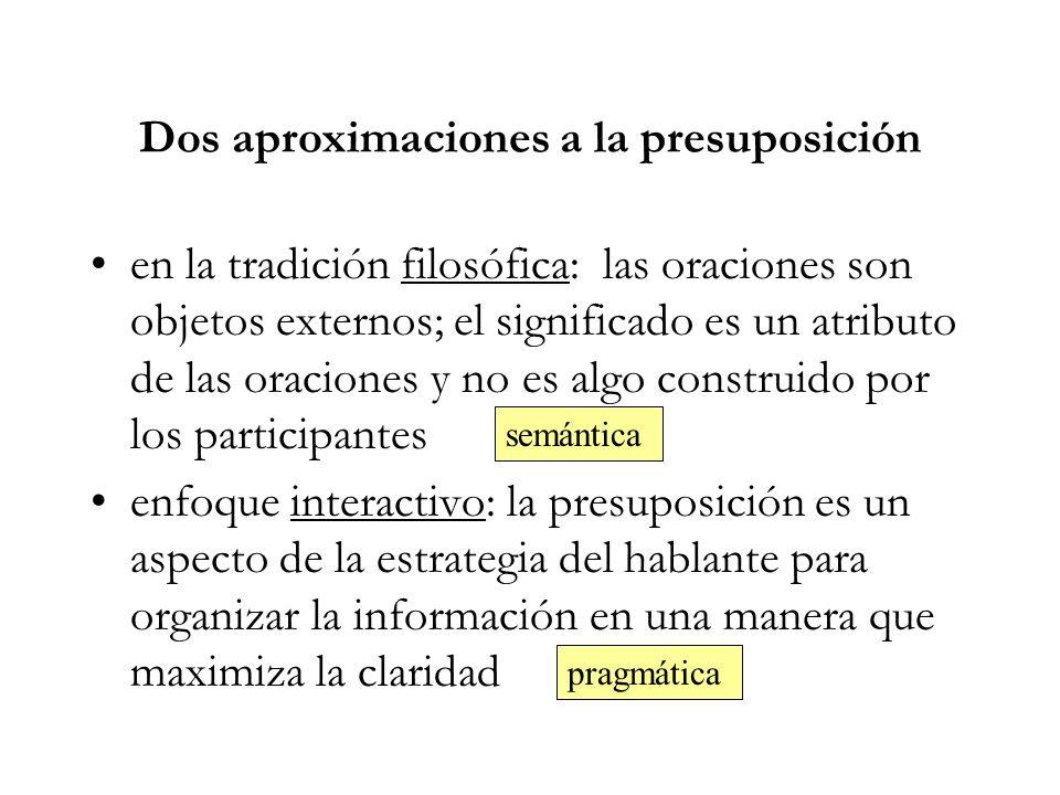 Dos aproximaciones a la presuposición en la tradición filosófica: las oraciones son objetos externos; el significado es un atributo de las oraciones y no es algo construido por los participantes enfoque interactivo: la presuposición es un aspecto de la estrategia del hablante para organizar la información en una manera que maximiza la claridad semántica pragmática