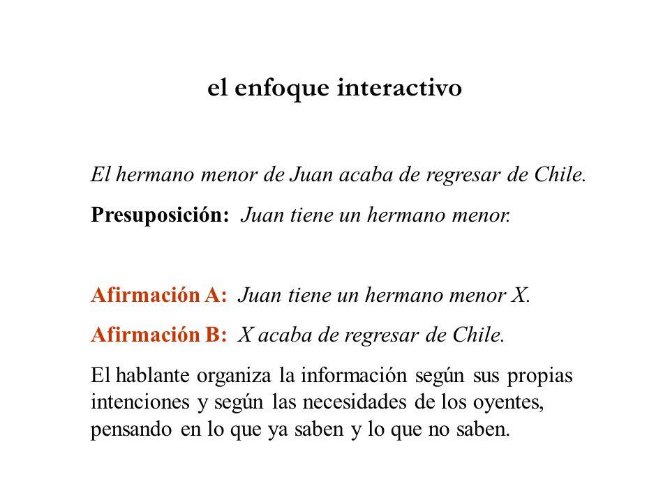 el enfoque interactivo El hermano menor de Juan acaba de regresar de Chile.