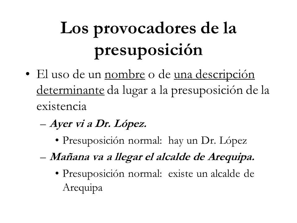 Los provocadores de la presuposición El uso de un nombre o de una descripción determinante da lugar a la presuposición de la existencia –Ayer vi a Dr.