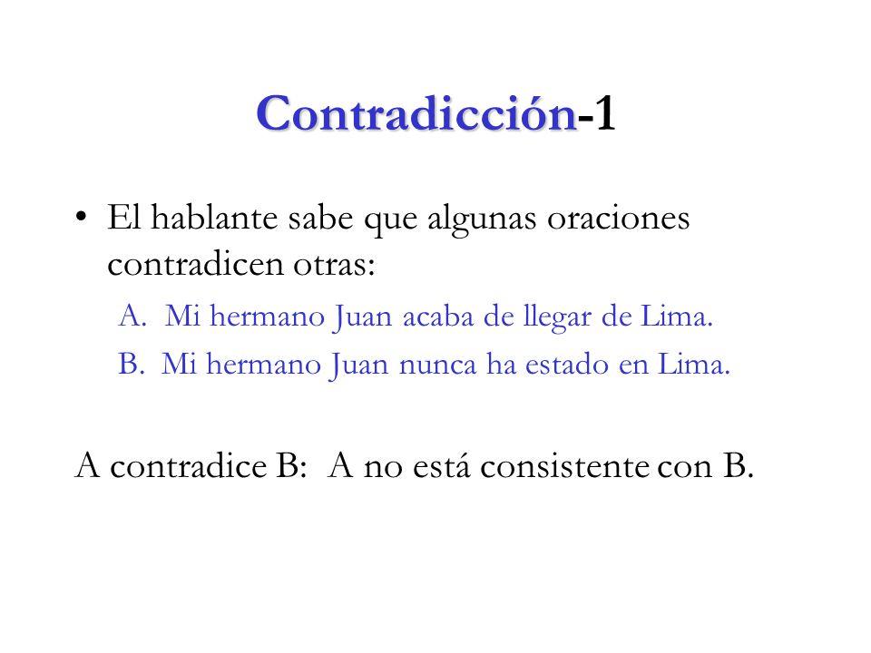 Contradicción Contradicción-1 El hablante sabe que algunas oraciones contradicen otras: A.