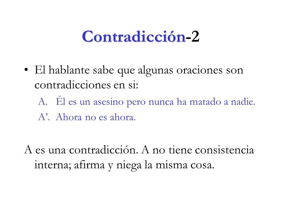 Contradicción Contradicción-2 El hablante sabe que algunas oraciones son contradicciones en si: A.