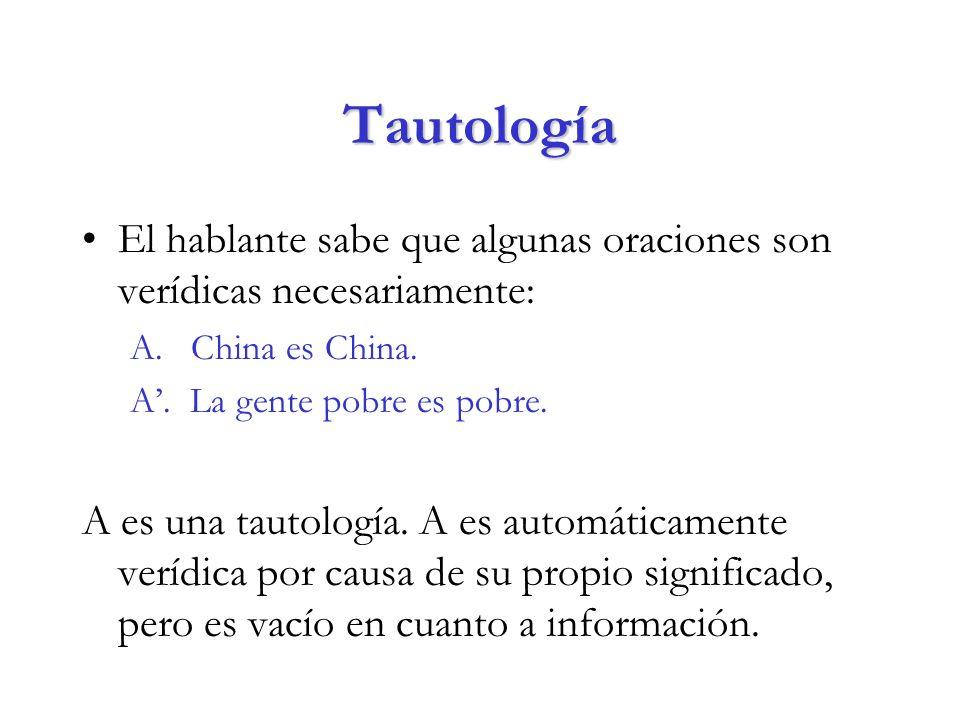 Tautología El hablante sabe que algunas oraciones son verídicas necesariamente: A.