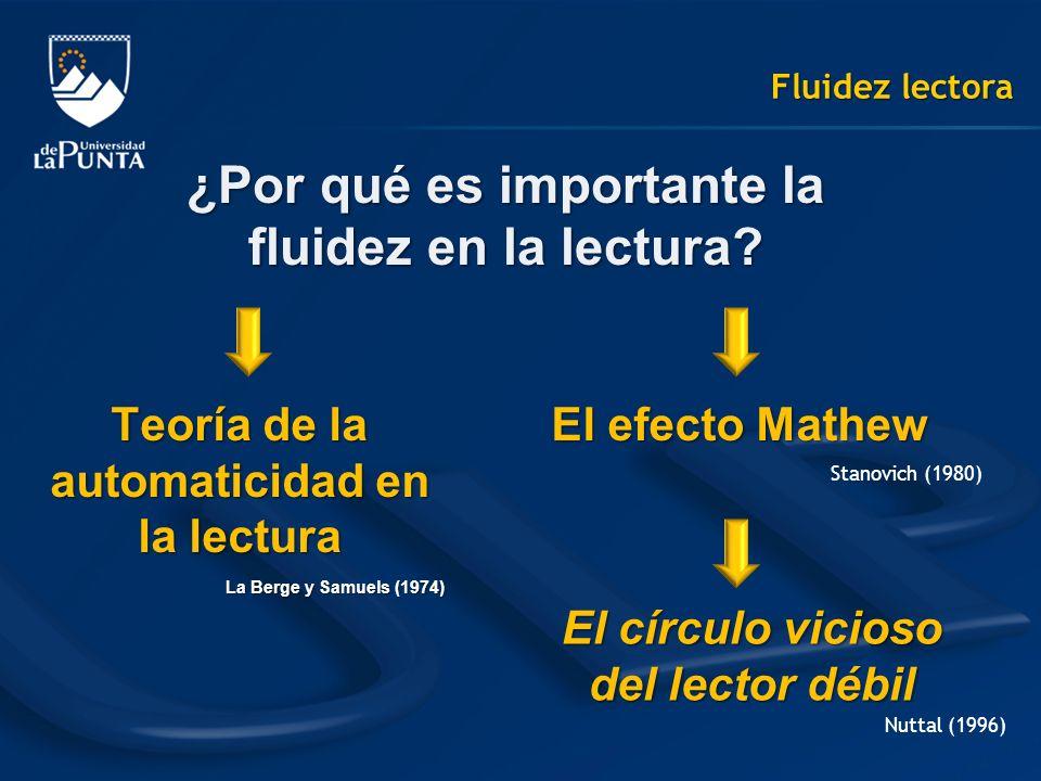 Fluidez lectora ¿Por qué es importante la fluidez en la lectura? Teoría de la automaticidad en la lectura La Berge y Samuels (1974) El efecto Mathew E