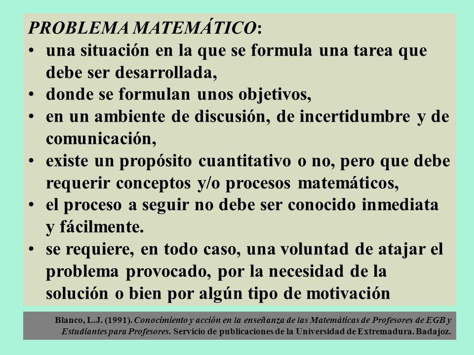 PROBLEMA MATEMÁTICO: una situación en la que se formula una tarea que debe ser desarrollada, donde se formulan unos objetivos, en un ambiente de discu