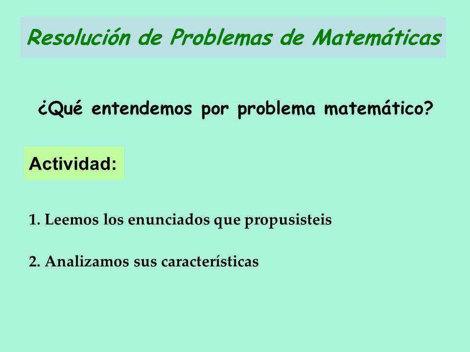 Actividad: 2. Analizamos sus características ¿Qué entendemos por problema matemático? 1. Leemos los enunciados que propusisteis Resolución de Problema