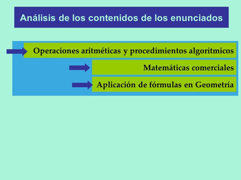 Matemáticas comerciales Análisis de los contenidos de los enunciados Operaciones aritméticas y procedimientos algorítmicos Aplicación de fórmulas en G