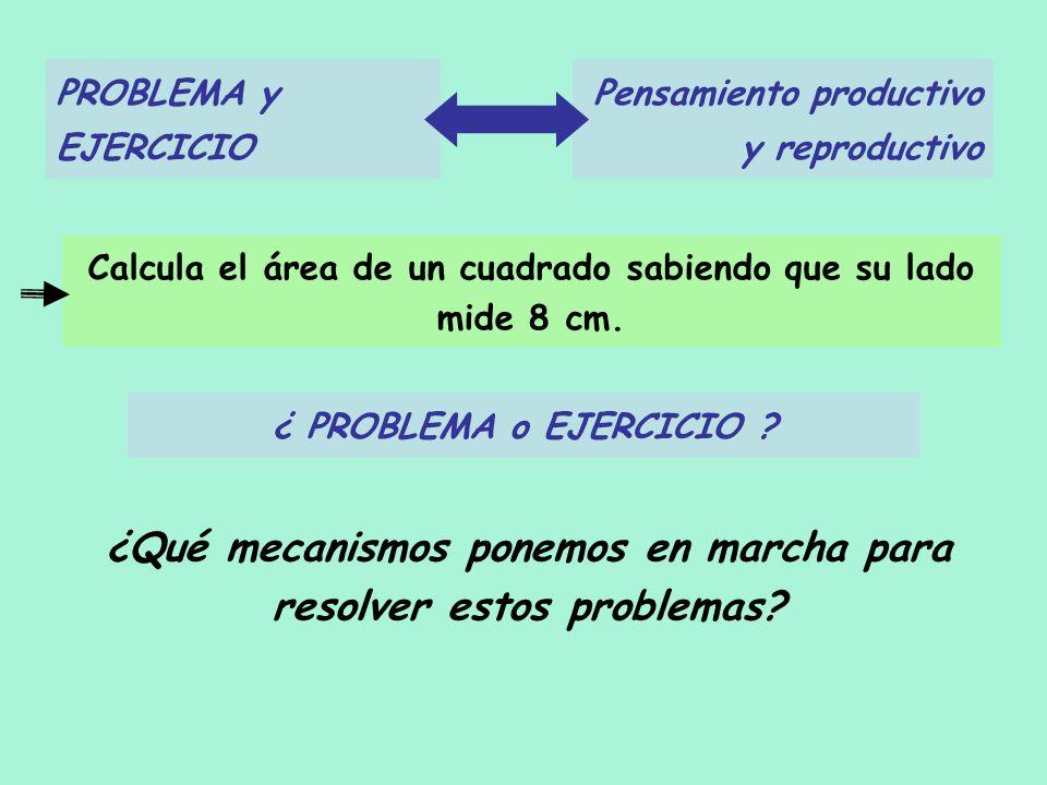 PROBLEMA y EJERCICIO Pensamiento productivo y reproductivo ¿Qué mecanismos ponemos en marcha para resolver estos problemas? Calcula el área de un cuad