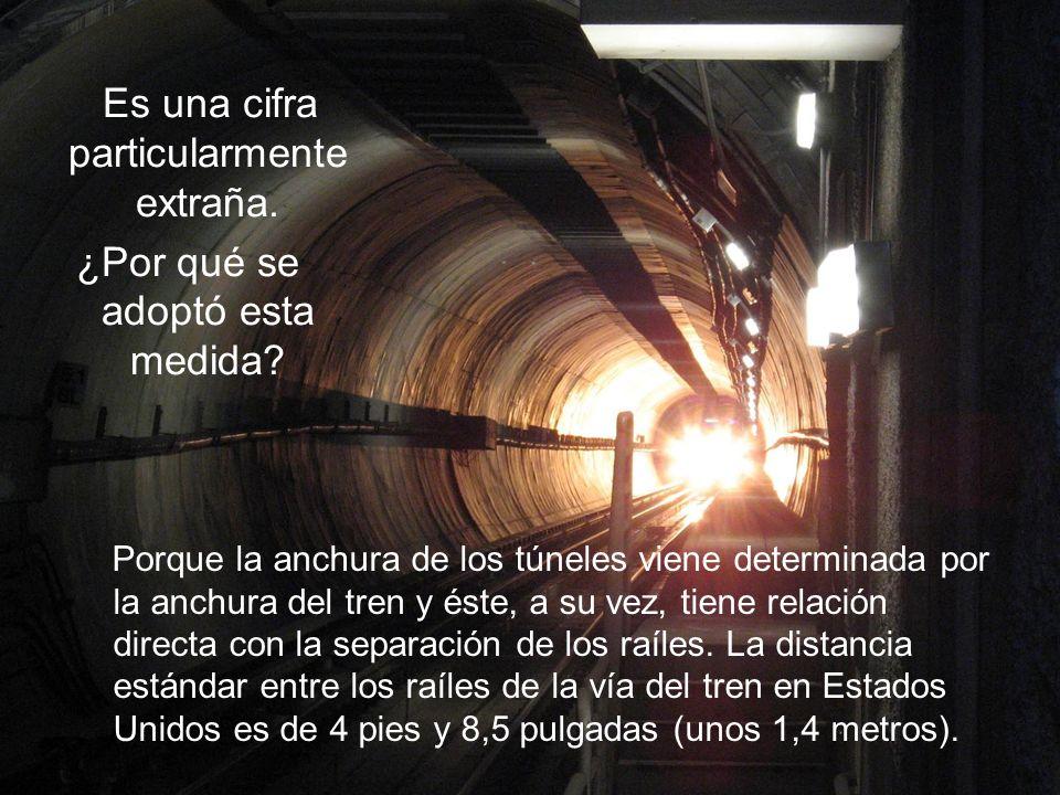 Porque la anchura de los túneles viene determinada por la anchura del tren y éste, a su vez, tiene relación directa con la separación de los raíles.