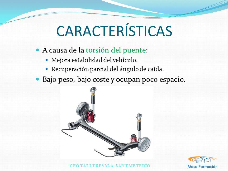 CFO TALLERES M.A. SAN EMETERIO CARACTERÍSTICAS A causa de la torsión del puente: Mejora estabilidad del vehículo. Recuperación parcial del ángulo de c