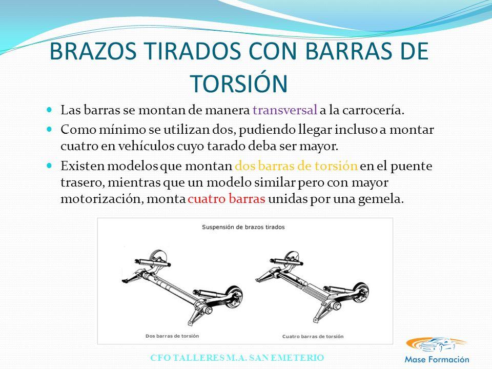 CFO TALLERES M.A. SAN EMETERIO BRAZOS TIRADOS CON BARRAS DE TORSIÓN Las barras se montan de manera transversal a la carrocería. Como mínimo se utiliza