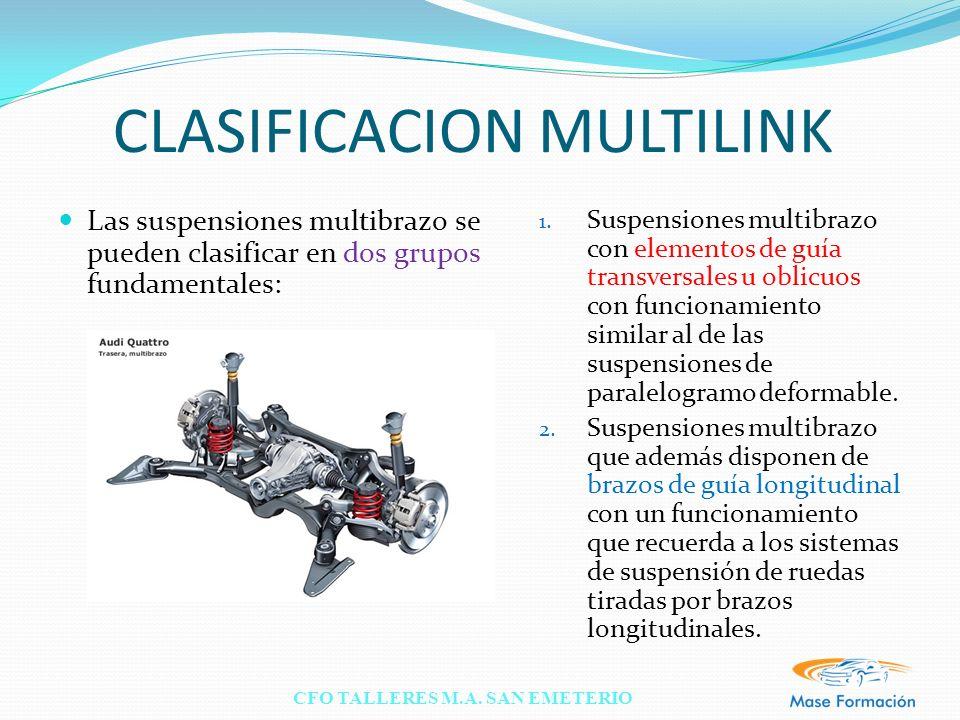 CFO TALLERES M.A. SAN EMETERIO CLASIFICACION MULTILINK Las suspensiones multibrazo se pueden clasificar en dos grupos fundamentales: 1. Suspensiones m