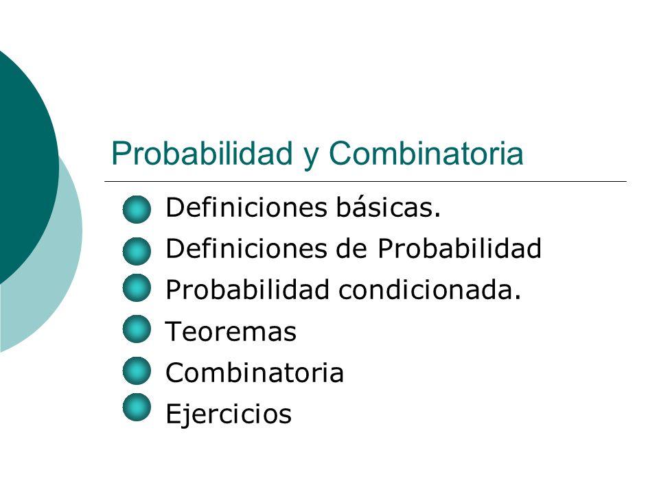 Probabilidad y Combinatoria Definiciones básicas. Definiciones de Probabilidad Probabilidad condicionada. Teoremas Combinatoria Ejercicios
