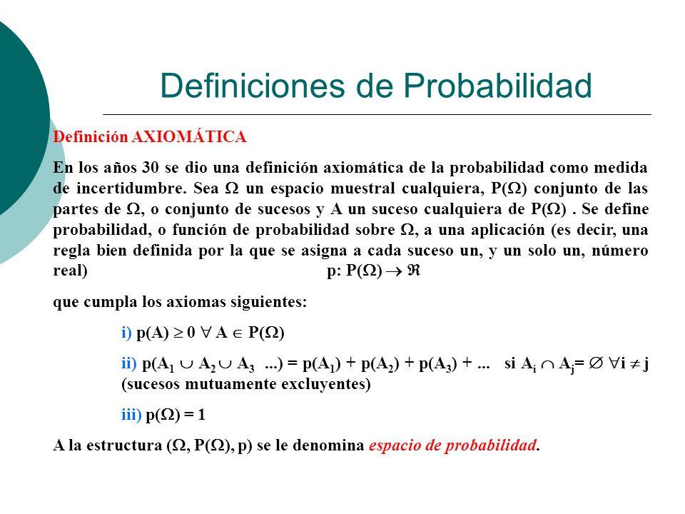 Definiciones de Probabilidad Definición AXIOMÁTICA En los años 30 se dio una definición axiomática de la probabilidad como medida de incertidumbre. Se