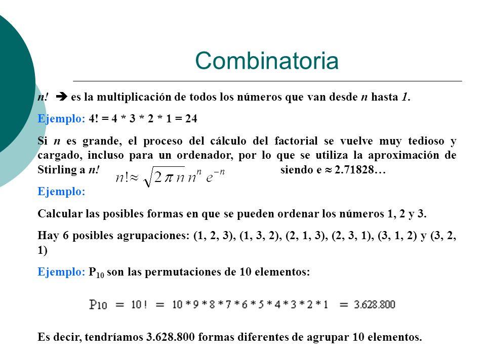 n! es la multiplicación de todos los números que van desde n hasta 1. Ejemplo: 4! = 4 * 3 * 2 * 1 = 24 Si n es grande, el proceso del cálculo del fact