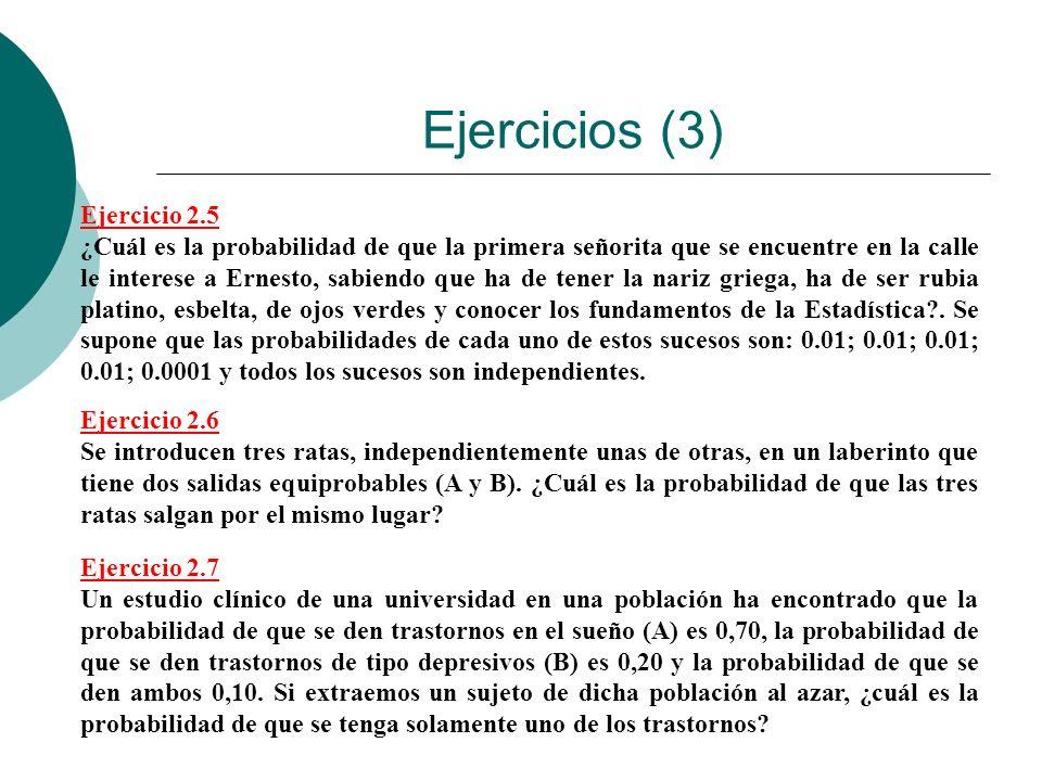 Ejercicios (3) Ejercicio 2.5 ¿Cuál es la probabilidad de que la primera señorita que se encuentre en la calle le interese a Ernesto, sabiendo que ha d