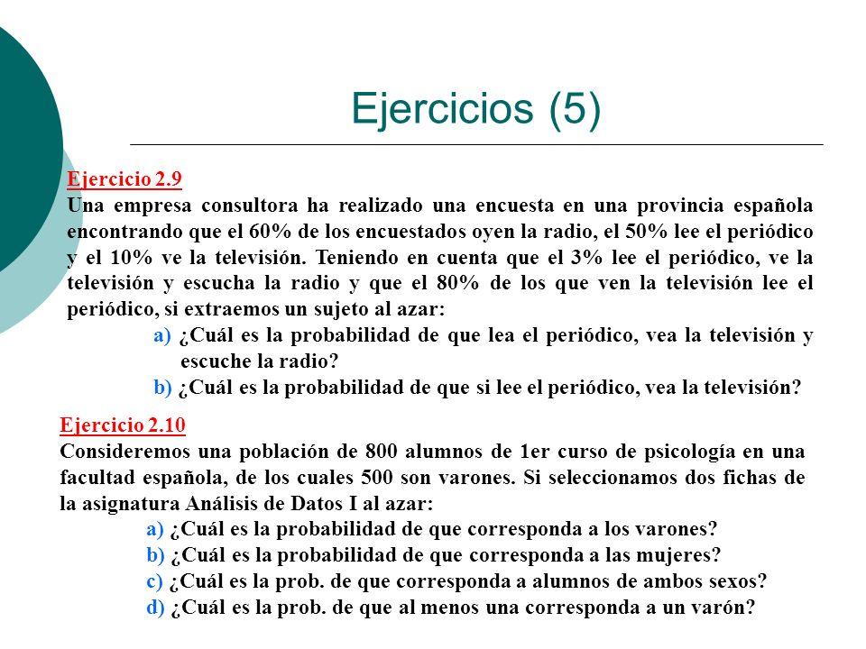 Ejercicios (5) Ejercicio 2.9 Una empresa consultora ha realizado una encuesta en una provincia española encontrando que el 60% de los encuestados oyen