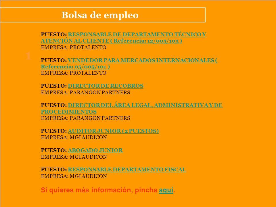 Bolsa de empleo 1 PUESTO: RESPONSABLE DE DEPARTAMENTO TÉCNICO Y ATENCIÓN AL CLIENTE ( Referencia: 12/005/103 )RESPONSABLE DE DEPARTAMENTO TÉCNICO Y ATENCIÓN AL CLIENTE ( Referencia: 12/005/103 ) EMPRESA: PROTALENTO PUESTO: VENDEDOR PARA MERCADOS INTERNACIONALES ( Referencia: 05/005/101 )VENDEDOR PARA MERCADOS INTERNACIONALES ( Referencia: 05/005/101 ) EMPRESA: PROTALENTO PUESTO: DIRECTOR DE RECOBROSDIRECTOR DE RECOBROS EMPRESA: PARANGON PARTNERS PUESTO: DIRECTOR DEL ÁREA LEGAL, ADMINISTRATIVA Y DE PROCEDIMIENTOSDIRECTOR DEL ÁREA LEGAL, ADMINISTRATIVA Y DE PROCEDIMIENTOS EMPRESA: PARANGON PARTNERS PUESTO: AUDITOR JUNIOR (2 PUESTOS)AUDITOR JUNIOR (2 PUESTOS) EMPRESA: MGI AUDICON PUESTO: ABOGADO JUNIORABOGADO JUNIOR EMPRESA: MGI AUDICON PUESTO: RESPONSABLE DEPARTAMENTO FISCALRESPONSABLE DEPARTAMENTO FISCAL EMPRESA: MGI AUDICON Si quieres más información, pincha aquí.aquí