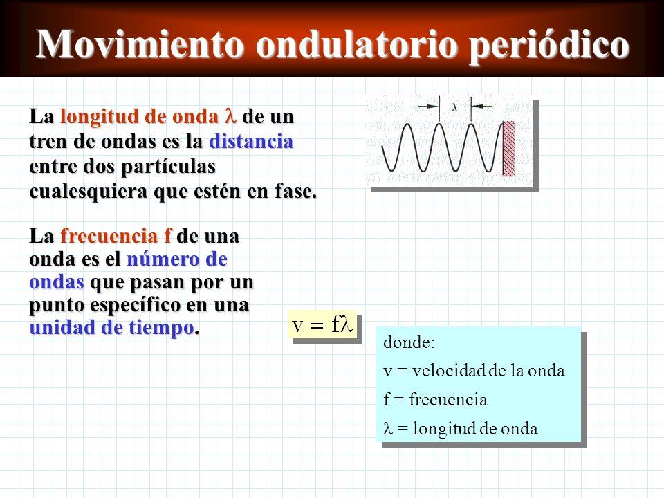 Cálculo de la velocidad de onda v FF ml / donde: v = velocidad de la onda transversal F = tensión de la cuerda or m/ l = masa de la cuerda por unidad