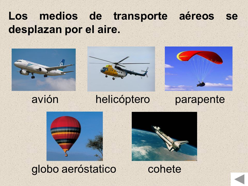 Los medios de transporte aéreos se desplazan por el aire. aviónhelicópteroparapente globo aeróstaticocohete