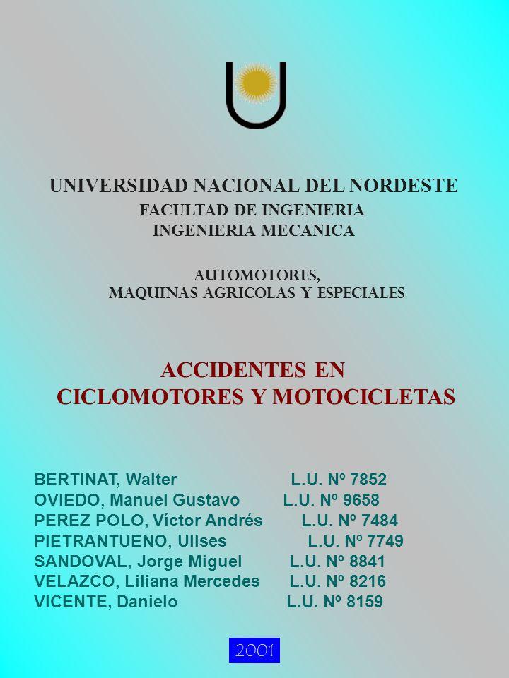 UNIVERSIDAD NACIONAL DEL NORDESTE FACULTAD DE INGENIERIA 2001 AUTOMOTORES, MAQUINAS AGRICOLAS Y ESPECIALES INGENIERIA MECANICA ACCIDENTES EN CICLOMOTORES Y MOTOCICLETAS BERTINAT, Walter L.U.