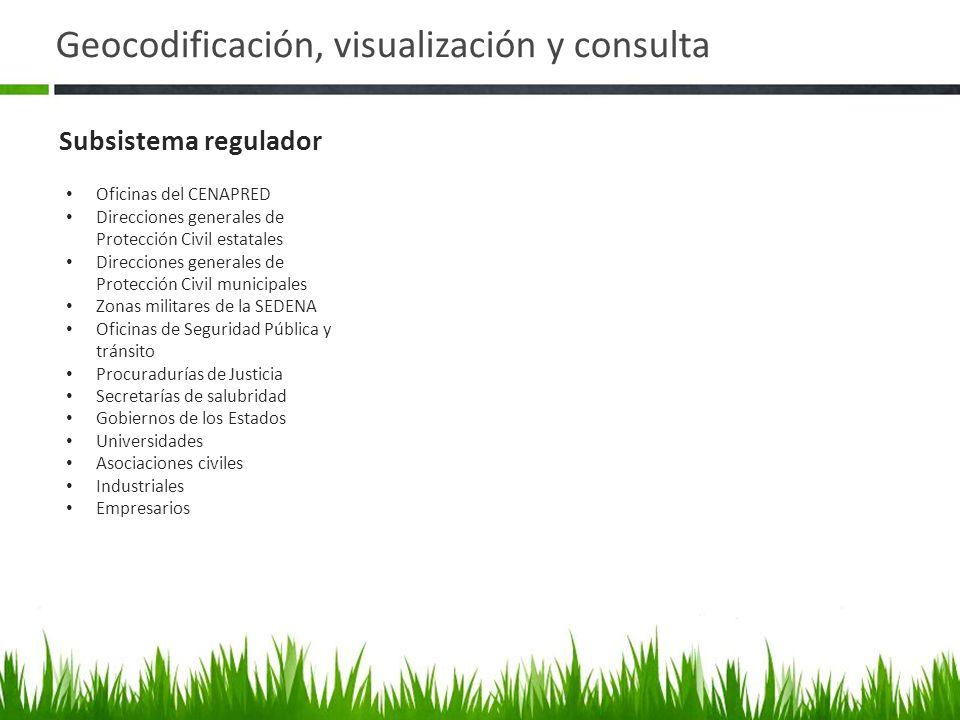 Geocodificación, visualización y consulta Subsistema regulador Oficinas del CENAPRED Direcciones generales de Protección Civil estatales Direcciones g
