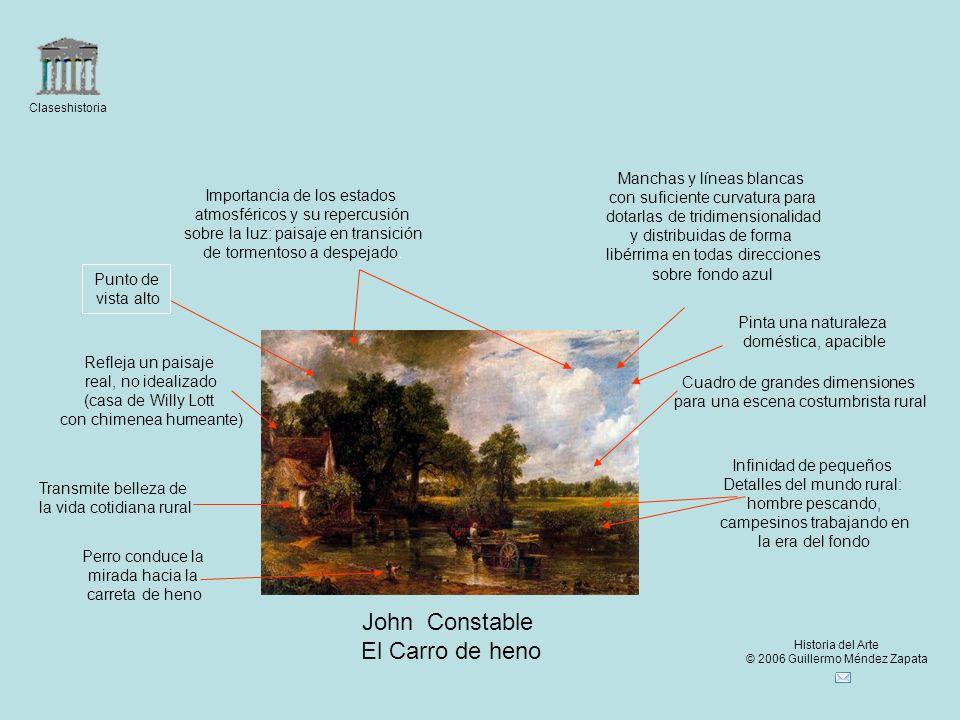 Claseshistoria Historia del Arte © 2006 Guillermo Méndez Zapata John Constable El Carro de heno Refleja un paisaje real, no idealizado (casa de Willy