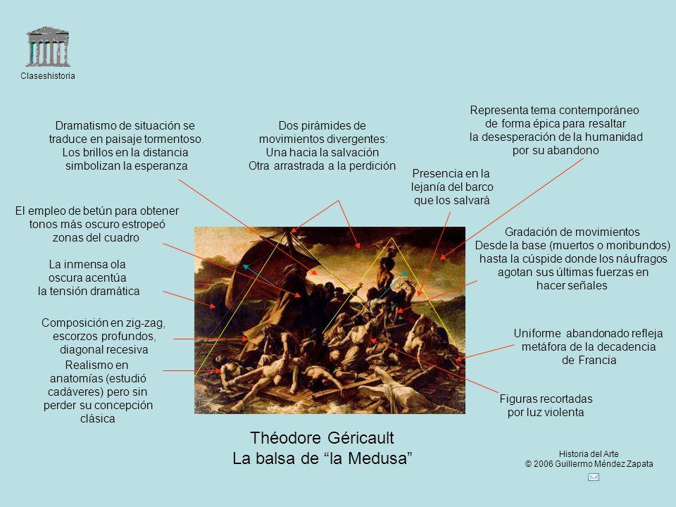 Claseshistoria Historia del Arte © 2006 Guillermo Méndez Zapata Théodore Géricault La balsa de la Medusa Dos pirámides de movimientos divergentes: Una