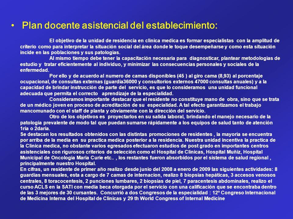 Plan docente asistencial del establecimiento: El objetivo de la unidad de residencia en clínica medica es formar especialistas con la amplitud de crit