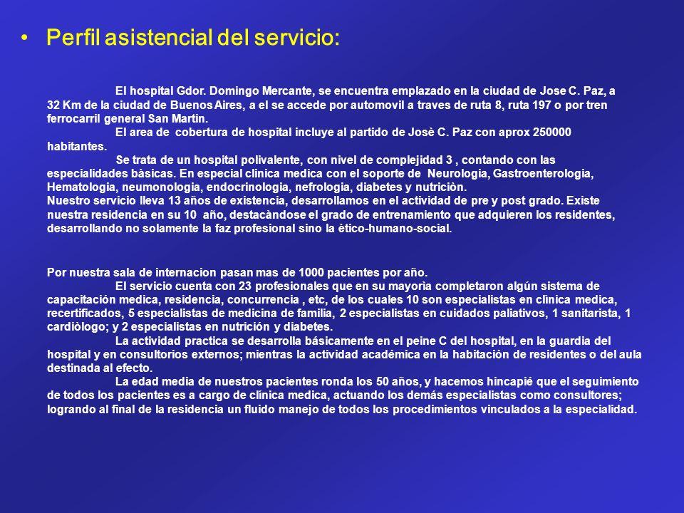 Perfil asistencial del servicio: El hospital Gdor. Domingo Mercante, se encuentra emplazado en la ciudad de Jose C. Paz, a 32 Km de la ciudad de Bueno