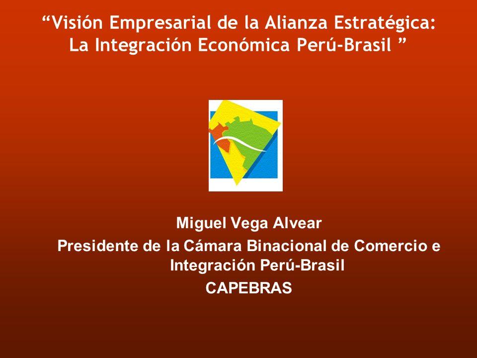 Visión Empresarial de la Alianza Estratégica: La Integración Económica Perú-Brasil Miguel Vega Alvear Presidente de la Cámara Binacional de Comercio e