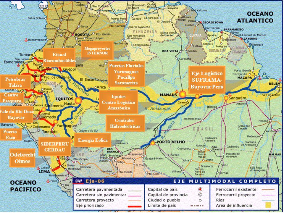 Megaproyectos INTERNOR Eje Logístico SUFRAMA- Bayovar Perú Puertos Fluviales Yurimaguas Pucallpa Sarameriza Iquitos Centro Logístico Amazónico Central