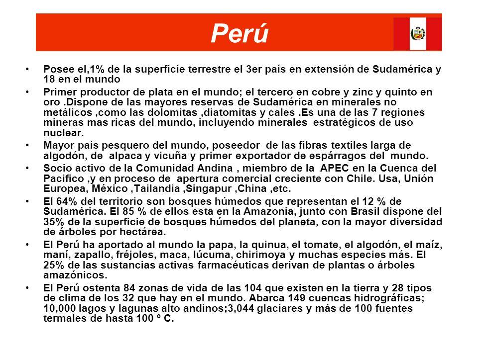 Perú Posee el,1% de la superficie terrestre el 3er país en extensión de Sudamérica y 18 en el mundo Primer productor de plata en el mundo; el tercero