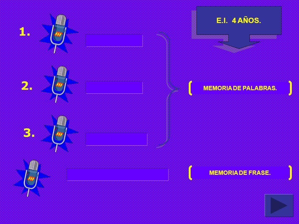 E.I.4 AÑOS. 1. 2. 3. COME MOCHILA MARTILLO EL NIÑO ES GRANDE MEMORIA DE PALABRAS.
